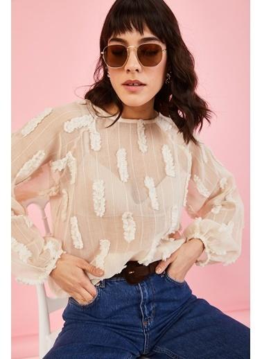 ESQ Kabartmalı Transparan Bluz Bej